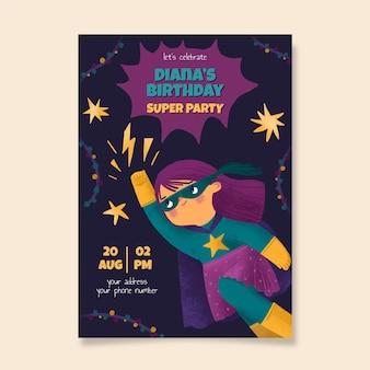 Convite de aniversário de super-herói pintado à mão em aquarela