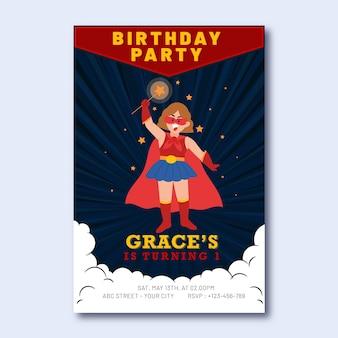 Convite de aniversário de super-herói plano com super-herói segurando a varinha