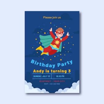 Convite de aniversário de super-herói plano orgânico com super-herói voando