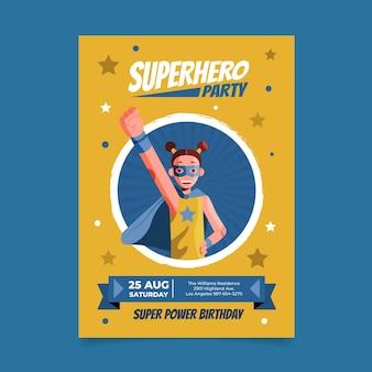 Convite de aniversário de super-herói plano