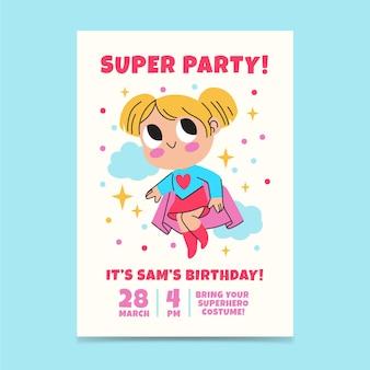 Convite de aniversário de super-heróis