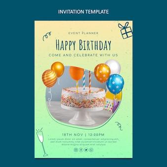 Convite de aniversário de textura gradiente