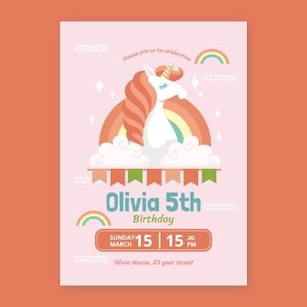 Convite de aniversário de unicórnio desenhado à mão