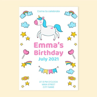 Convite de aniversário de unicórnio infantil