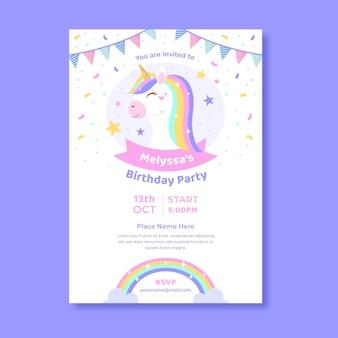Convite de aniversário de unicórnio plano