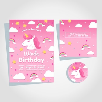 Convite de aniversário de unicórnio