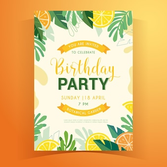 Convite de aniversário de verão tropical