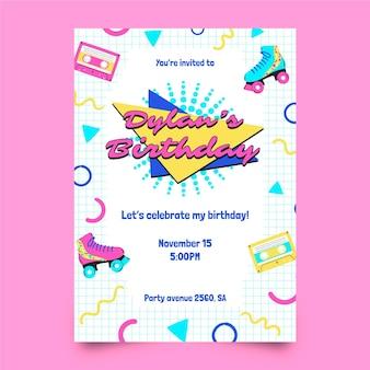 Convite de aniversário desenhado à mão dos anos 90