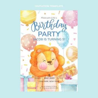 Convite de aniversário desenhado à mão em aquarela