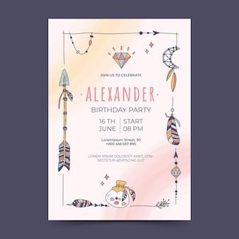 Convite de aniversário desenhado à mão para boho