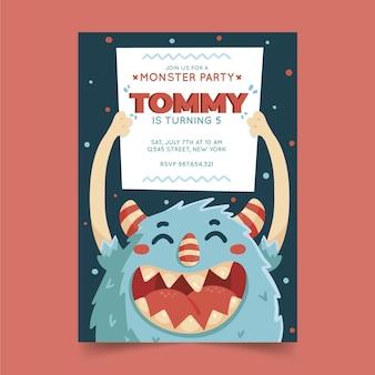 Convite de aniversário desenhado à mão para monstros