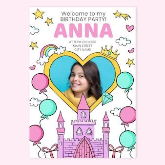 Convite de aniversário desenhado à mão para princesa com modelo de foto