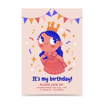 Convite de aniversário desenhado à mão para princesa