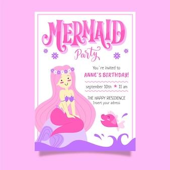 Convite de aniversário desenhado a mão para sereia