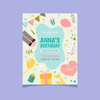 Convite de aniversário desenhado à mão