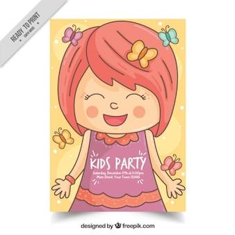 Convite de aniversário desenhado mão da menina de sorriso com borboletas