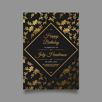 Convite de aniversário dourado gradiente