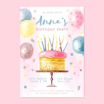 Convite de aniversário em aquarela com bolo