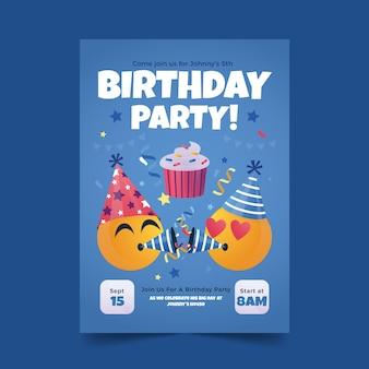 Convite de aniversário emoji de desenho animado