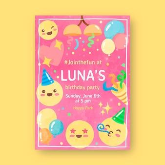 Convite de aniversário emoji pintado à mão