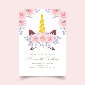 Convite de aniversário floral crianças com unicórnio fofo