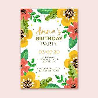 Convite de aniversário floral modelo