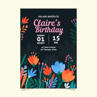 Convite de aniversário floral