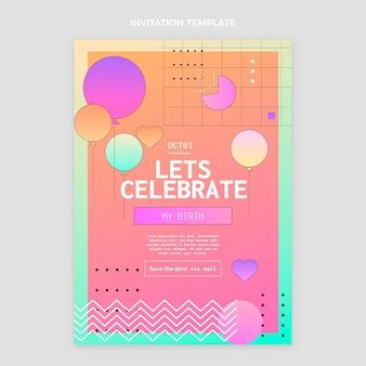 Convite de aniversário gradiente colorido