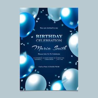 Convite de aniversário gradiente elegante