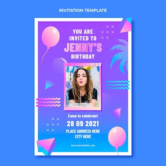 Convite de aniversário gradiente retro vaporwave