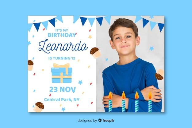 Convite de aniversário infantil com design de imagem
