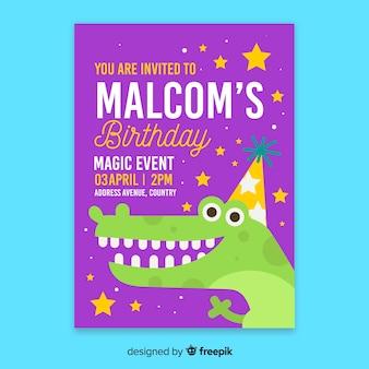 Convite de aniversário infantil com modelo de crocodilo