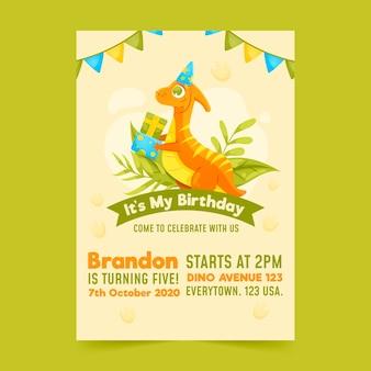 Convite de aniversário infantil com modelo de dinossauro