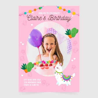 Convite de aniversário infantil com modelo de imagem