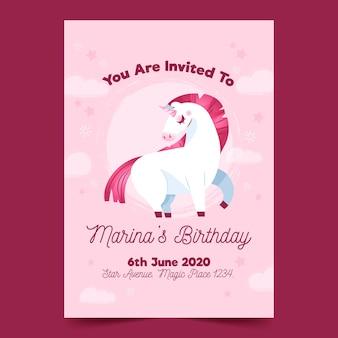 Convite de aniversário infantil com modelo de unicórnio