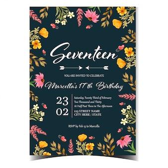 Convite de aniversário lindo com lindas flores silvestres