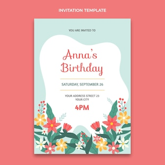 Convite de aniversário mínimo simples