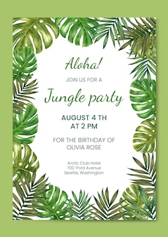 Convite de aniversário, modelo de cartão. festa na selva. quadro de folhas tropicais em aquarela.