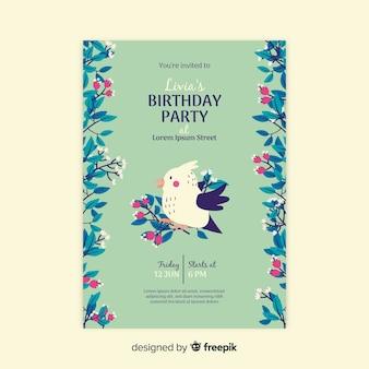 Convite de aniversário modelo floral
