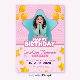 Convite de aniversário modelo para crianças