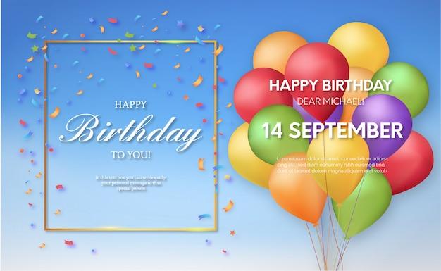 Convite de aniversário moderno com balões realistas