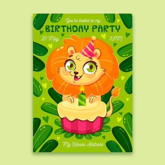 Convite de aniversário para crianças planas orgânicas com leão fofo