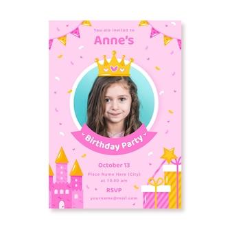 Convite de aniversário plana de princesa com foto