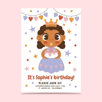 Convite de aniversário plana de princesa
