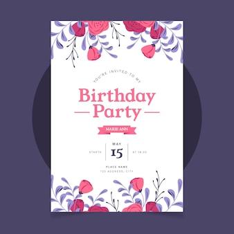 Convite de aniversário plano orgânico