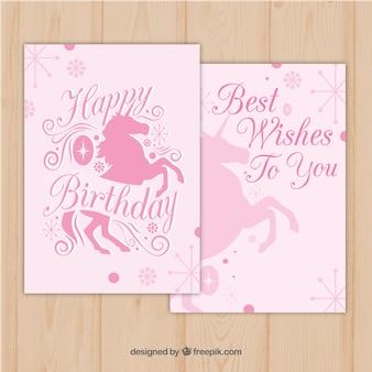 Convite de aniversário rosa com unicórnios