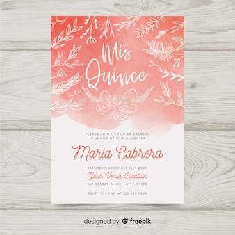 Convite de aquarela quinceanera