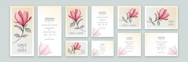 Convite de arte floral elegante de cor clara com tamanhos variáveis