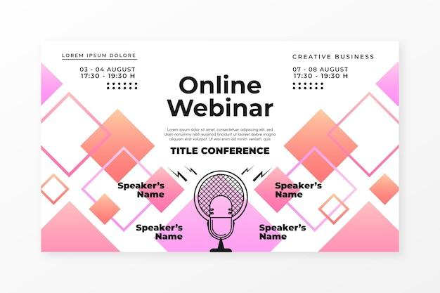 Convite de banner para webinar com formas retangulares