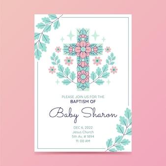 Convite de batismo de design plano